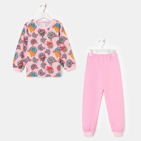 Пижама для девочки, цвет розовый/коты, рост 104