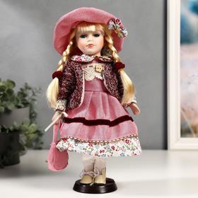 """Кукла коллекционная керамика """"Алёна в розовом платье и бордовом джемпере"""" 30 см"""