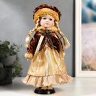 """Кукла коллекционная керамика """"Лида в золотом платье и бархатной шубке"""" 30 см"""