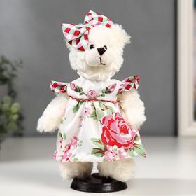"""Кукла интерьерная """"Мишка с бантиком и в цветочном платье"""" 25 см"""