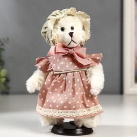 """Кукла интерьерная """"Мишка в чепчике и в розовом платье в горошек"""" 25 см"""
