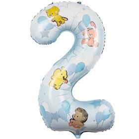 """Шар фольгированный 40"""" «Цифра 2», зверюшки с шарами, для мальчика"""