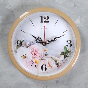"""Часы настенные """"Цветы"""" d=22 см, плавный ход"""
