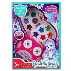 Косметика для девочек «Энчантималс», тени для век с блестками, блеск для губ