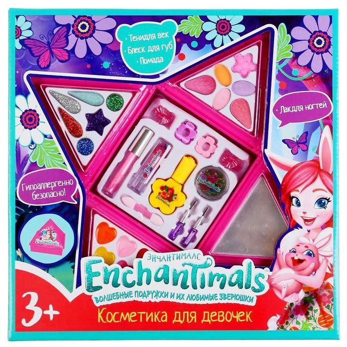 Косметика для девочек «Энчантималс», тени для век, помада, блеск для губ, лак для ногтей - фото 317368
