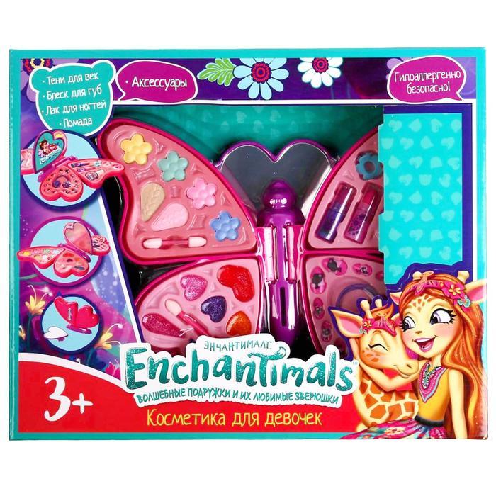 Косметика для девочек «Энчантималс», тени для век, помада, блеск для губ, лак для ногтей - фото 317375
