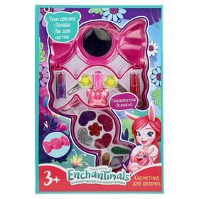Косметика для девочек «Энчантималс», тени для век, помада, лак для ногтей, заколки