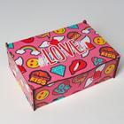"Ящик деревянный подарочный 21х14х7 см ""LOVE, любовь, сердце, ПОП арт"", шкатулка"
