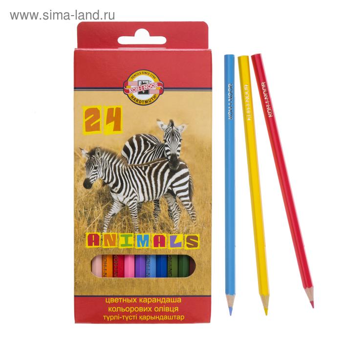 """Карандаши 24 цвета """"Животные"""", европодвес"""