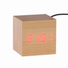 """Часы-будильник """"Деревянный кубик"""" с термометром, 4*ААА или USB ( в комплекте) 49637"""