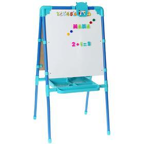 Мольберт двухсторонний с большим пеналом, магнитными буквами, цифрами и мозаикой, цвет голубой Ош