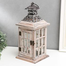 """Подсвечник дерево на 1 свечу """"Фонарь - большие окна"""" состаренный 34х14,5х14,5 см"""