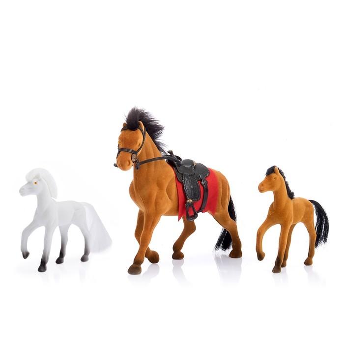 """Набор лошадок """"Семейка"""", флок, 3 штуки"""