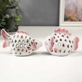 """Сувенир керамика """"Рыбки ажурные"""" набор 2 шт 10х14 см"""