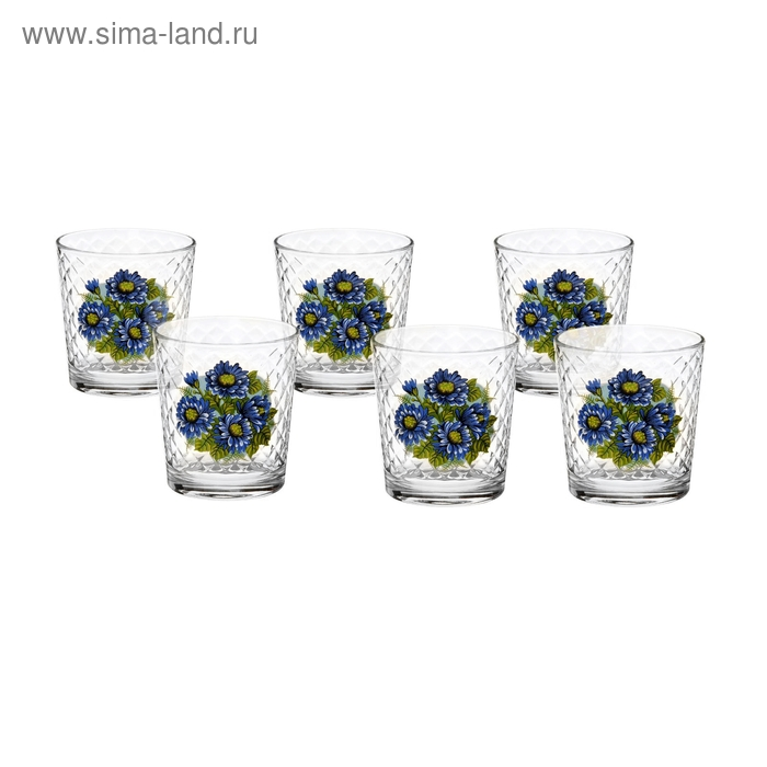 "Набор стаканов 250 мл ""Синяя хризантема"", 6 шт"