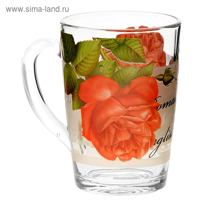 """Кружка стеклянная 300 мл """"Алая роза"""""""