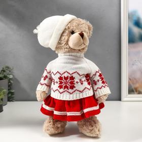 """Кукла интерьерная """"Мишка в юбочке-гофре, в свитере и шапке"""" 35 см"""