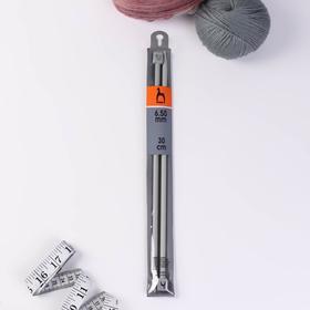 Спицы для вязания, прямые, d = 6,5 мм, 30 см, 2 шт