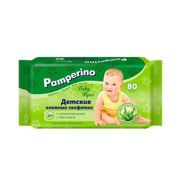 Влажные салфетки Pamperino детские, с алоэ вера, 2 упаковки по 80 шт. микс - фото 797608097