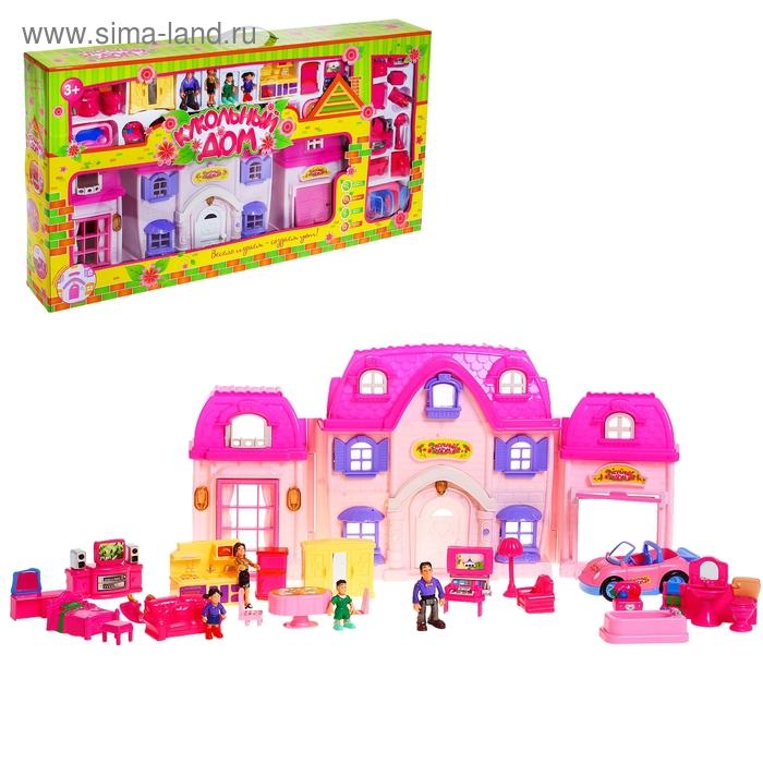 """Дом для кукол """"Большая семья"""" с мебелью, куколками, аксессуарами, световые и звуковые эффекты, работает от батареек"""