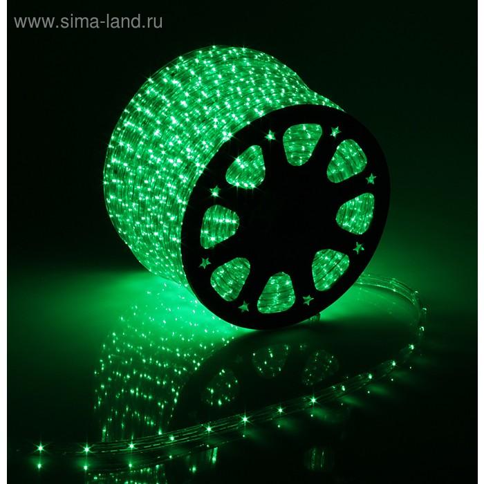 LED шнур 11х18 мм, квадратн, 100 м, чейзинг, 3W-LED/м-36-220V в компл. набор д/подкл. Зелен.