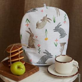 "Грелка на чайник ""Доляна"" Fluffy bunnies 28х28см,100% хл,164г/м2"