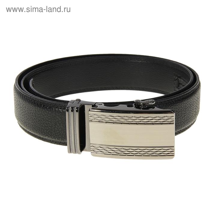 """Ремень мужской """"Алек"""", пряжка-зажим под серебро, ширина 3,5см, чёрный"""