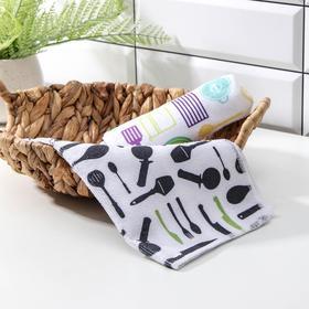 Салфетка для уборки Доляна «Столовые приборы», 30×30 см, цвет МИКС
