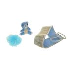 Набор банный, 3 предмета: игрушка-мочалка, губка, мочалка, цвет МИКС