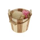 Набор банный в деревянном ушате 3 предмета: мочалка, шапочка для душа, массажёр