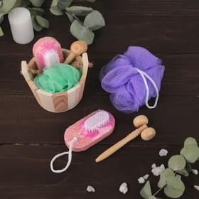Набор банный в деревянном ушате, 3 предмета: мочалка-бант, пемза-щётка, массажёр