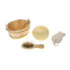 Набор банный в деревянном ушате 3 предмета: мочалка, пемза, расческа