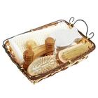 Набор банный в плетеной корзине 5 предметов: мочалка, пемза, щетка, расческа, массажер