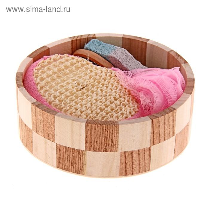 Набор банный в круглом ушате 4 предмета: 2 мочалки, пемза, расческа