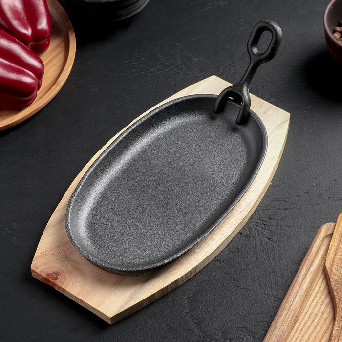 """Сковорода на деревянной подставке """"Овал"""" с держателем 23,5х14 см"""