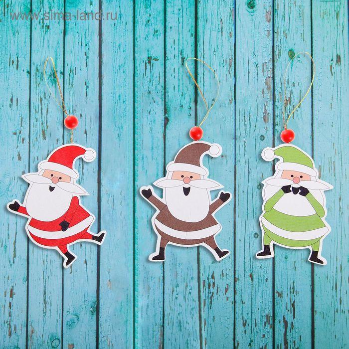 """Подвеска новогодняя """"Весёлый дедушка Мороз"""", золотая нить, МИКС"""