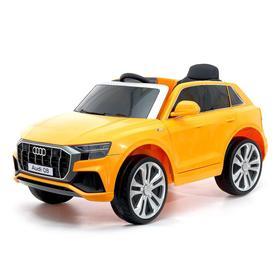 УЦЕНКА (Царапины на лобовом стекле, потёртости) Электромобиль Audi Q8, EVA колёса, кожаное сиденье, цвет оранжевый