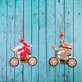 Подвеска новогодняя «На велосипеде» МИКС, односторонняя