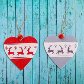 Подвеска новогодняя «Лесное сердце»односторонняя, цвета МИКС