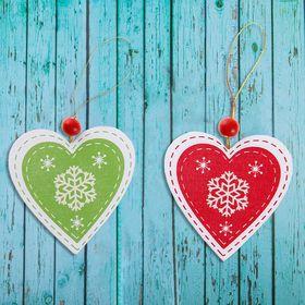 Подвеска новогодняя «Сердце», цвета МИКС