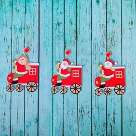 """Подвеска новогодняя """"Весёлый паровоз"""", золотая нить, МИКС, односторонняя"""