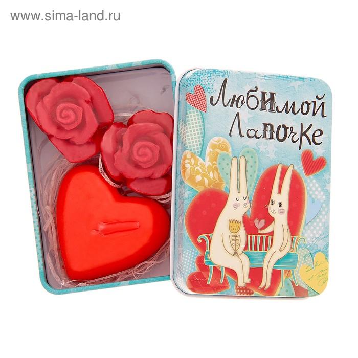 """Набор мыло розочка 2 шт, свеча сердце и серпантин в шкатулке """"Любимой лапочке"""""""