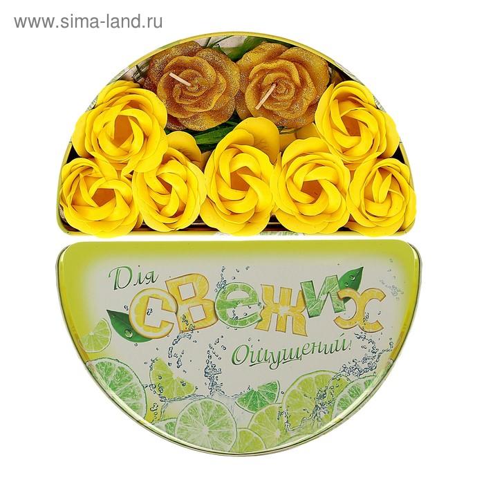 """Набор в шкатулке """"Для свежих ощущений"""": мыльные лепестки 7 шт и свеча-роза 2 шт"""