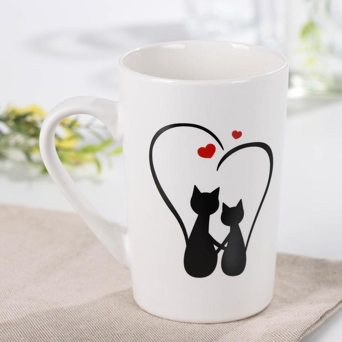 Кружка Доляна «Влюбленные коты», 380 мл