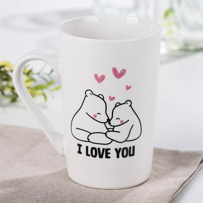 Кружка Доляна «Влюбленные мишки», 380 мл