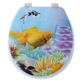Сиденье для унитаза с крышкой «Морская фауна», 40×37 см, мягкое