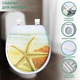 Сиденье для унитаза с крышкой «Пляж со звездой», 40×37 см, мягкое