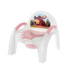 Горшок-стульчик «Маша и Медведь» с крышкой, цвет белый/розовый МИКС