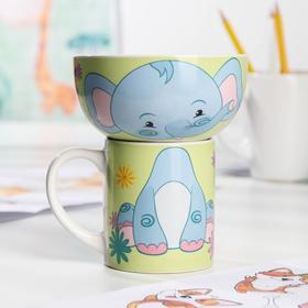 Набор «Слонёнок и Львёнок», 2 предмета: кружка 200 мл, миска 300 мл