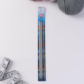 Спицы для вязания, чулочные, d = 2,5 мм, 20 см, 5 шт